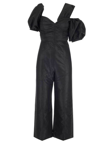 Self-Portrait One Shoulder Wide Leg Jumpsuit