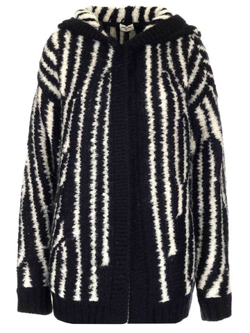 Saint Laurent Hooded Striped Cardigan