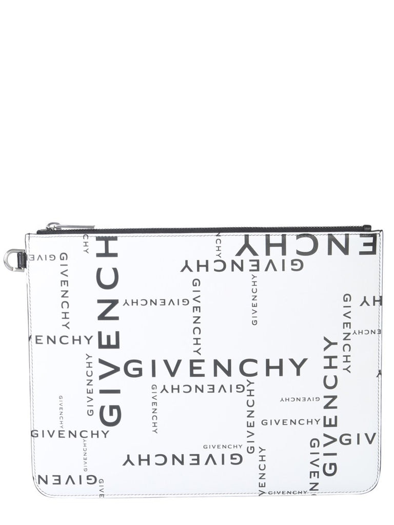Givenchy Zipped Logo Print Clutch