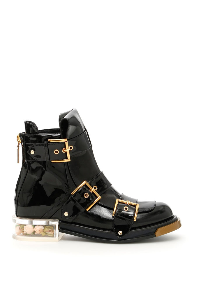 Alexander McQueen Patent Leather Buckled Boots