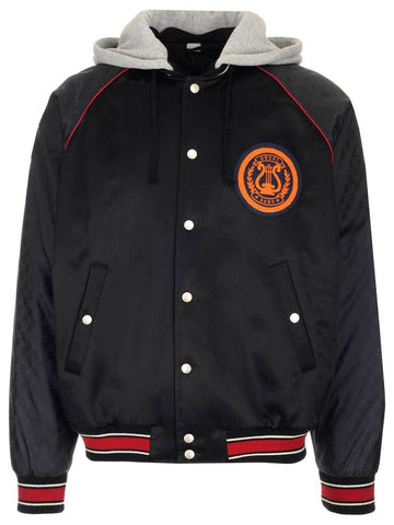 Gucci Logo Patch Hooded Bomber Jacket
