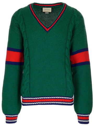 Gucci Web Trimmed V-Neck Sweater