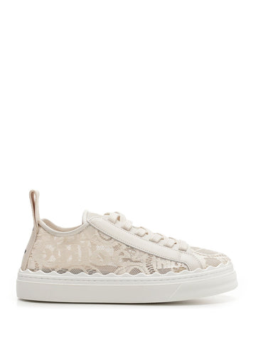 Chloé Lace Logo Embroidered Low-Top Sneakers