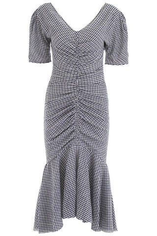 Staud V Neck Gingham Print Dress