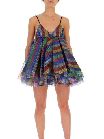 Attico Striped Glitter Dress