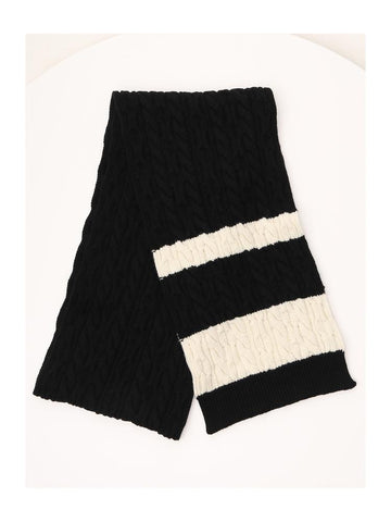 Saint Laurent Contrasting Panelled Cable Knit Scarf