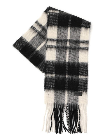 Saint Laurent Plaid Effect Fringed Scarf