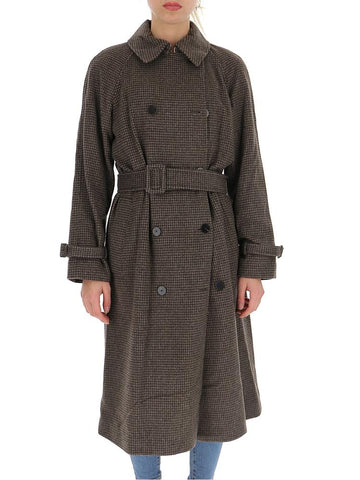 Theory Checked Belted Double Breasted Coat