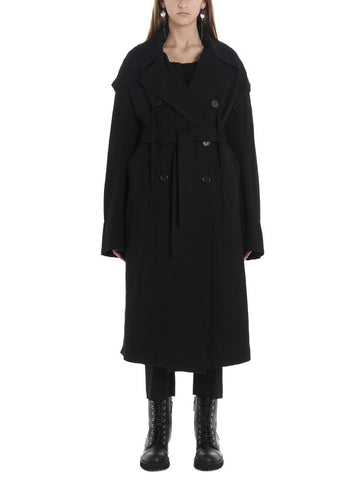 Ann Demeulemeester Ruffle Sleeve Belted Trench Coat