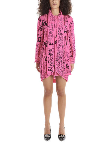 Balenciaga Pleated Graffiti Logo Dress