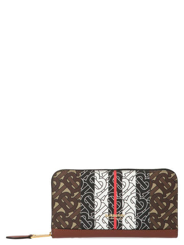 Burberry Monogram Stripe Zip Around Wallet