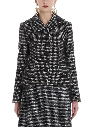 Dolce & Gabbana Fitted Houndstooth Tweed Jacket