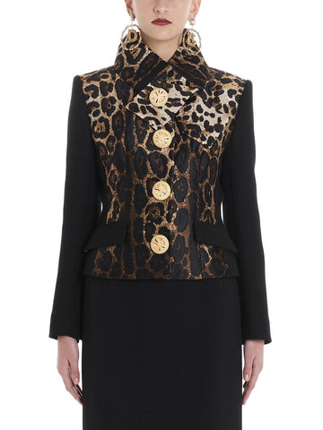 Dolce & Gabbana Collared Leopard Structured Jacket