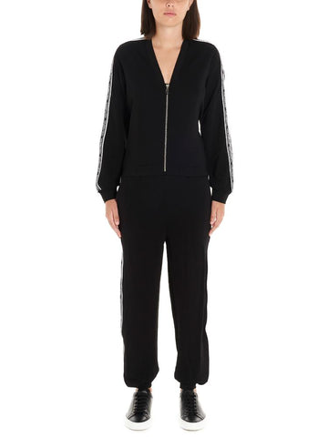 Karl Lagerfeld Logo Trim Zip-Up Jumpsuit