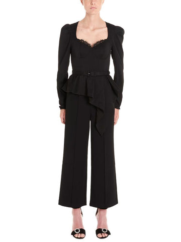 Self-Portrait Peplum Detail Belted Jumpsuit