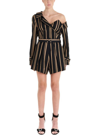 Self-Portrait One-Shoulder Pinstripe Playsuit