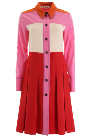 Marni Pleated Skirt Pointed Collar Shirt Dress