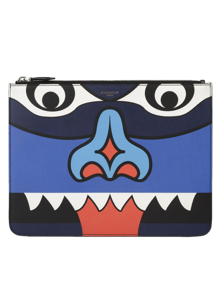 Givenchy Totem Face Print Zip Pouch