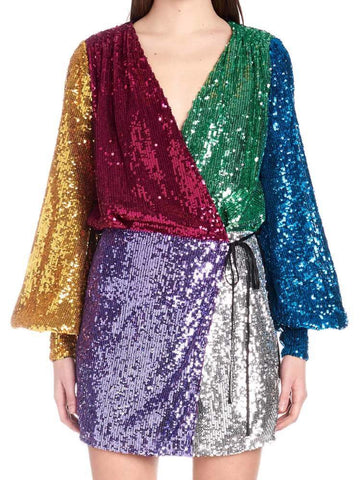 Attico Contrasting Sequin Wrap Dress