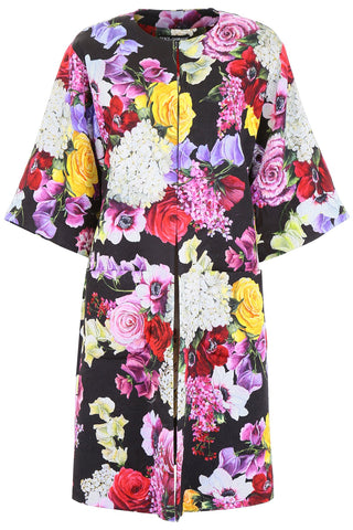 Dolce& Gabbana Floral Printed Tent Coat