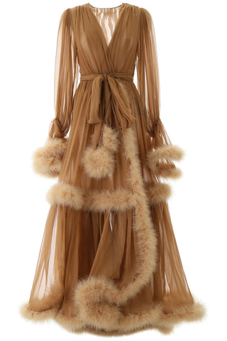 Dolce & Gabbana Feather Trim Flounce Draped Gown