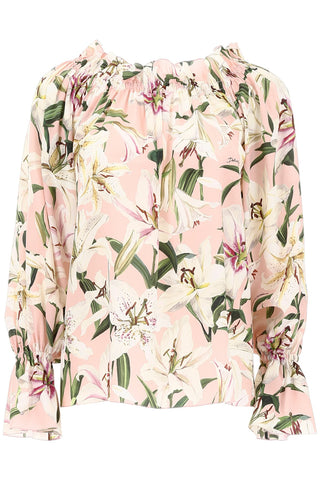 Dolce & Gabbana Floral Print Off-Shoulder Blouse