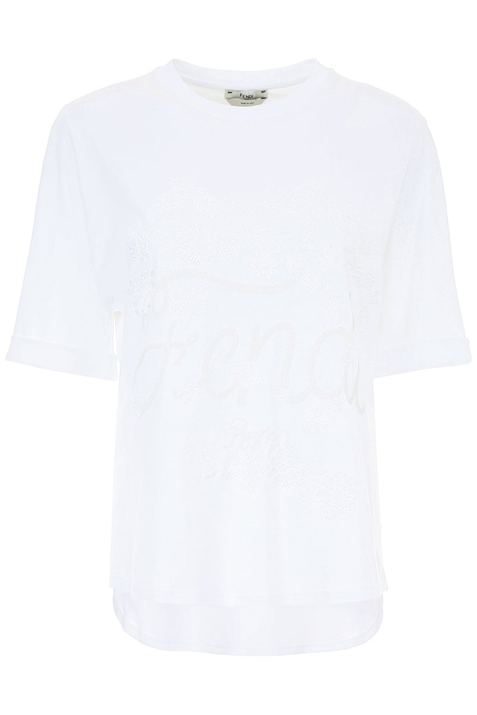Fendi Embroidered Floral Logo T-Shirt