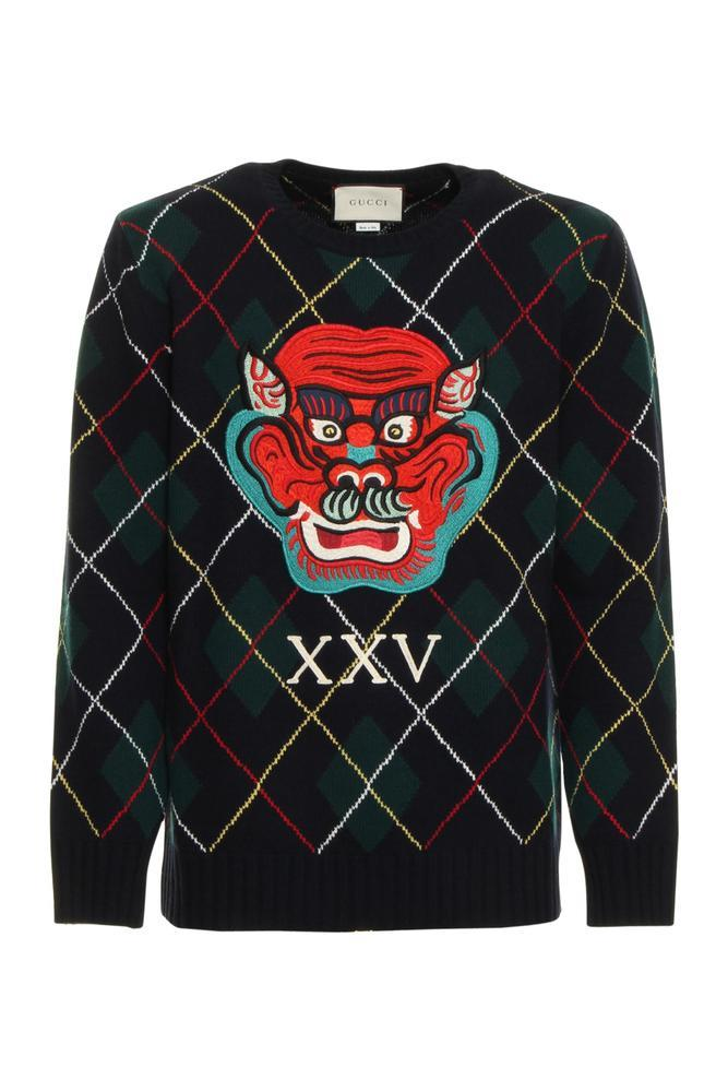Gucci Dragon Argyle Sweater