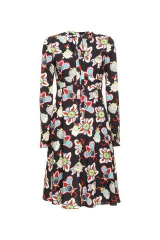 Valentino Floral Printed Long Sleeve Dress