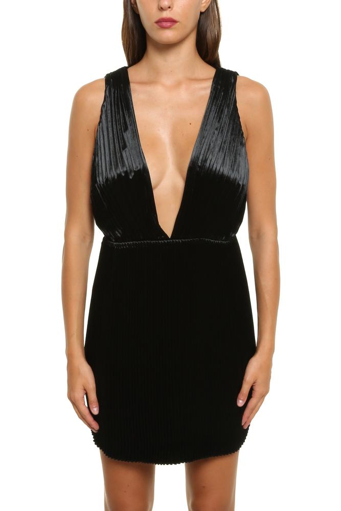 Saint Laurent Plunging Neckline Mini Dress