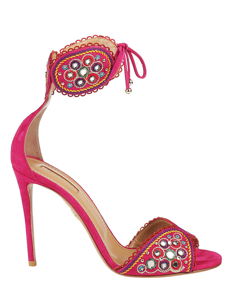 Aquazzura Embellished Ankle Tie Sandals