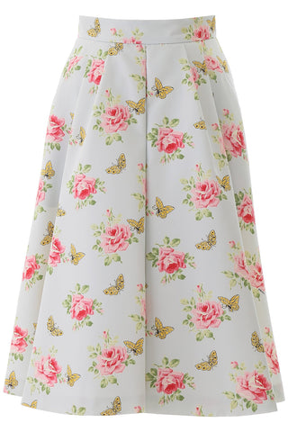 Prada Floral Printed Flared Skirt