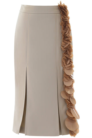 Prada Embellished Pleated Midi Skirt