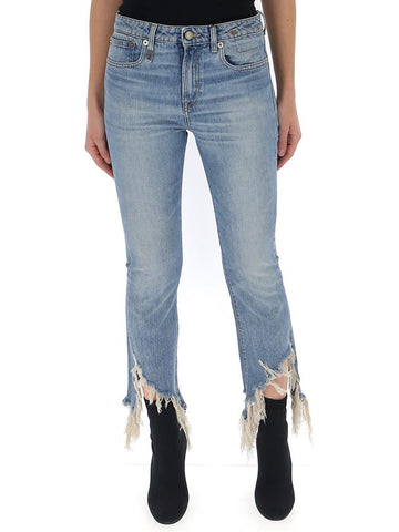 R13 Frayed Flared Jeans