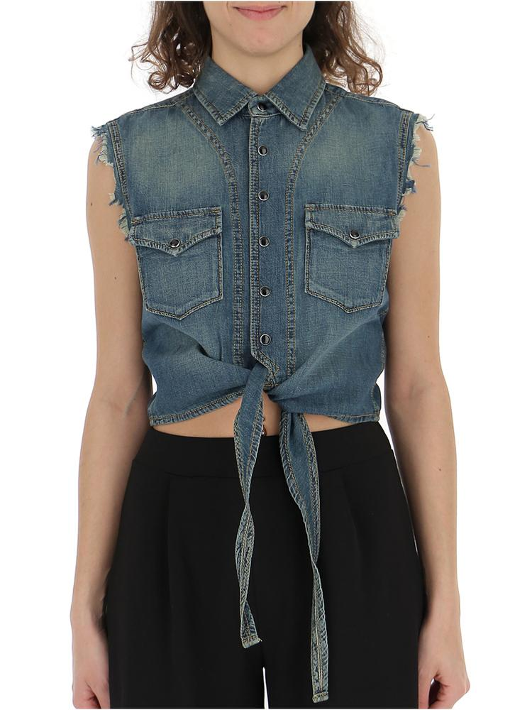 Saint Laurent Cropped Denim Shirt