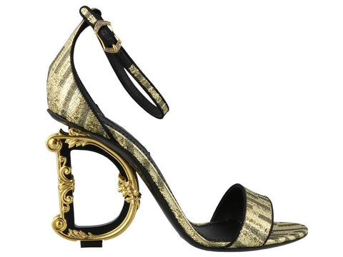 Dolce & Gabbana Metallic Logo Heeled Sandals