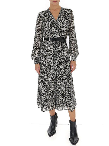 Michael Michael Kors Belted Leopard Print Dress