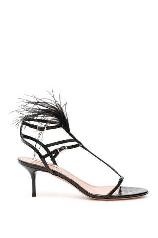 Aquazzura Ponza 60 Feather Detail Sandals