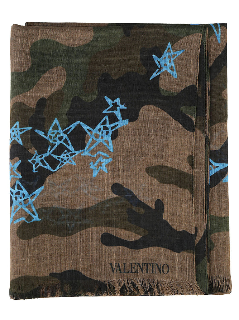 Valentino Star Print Camouflage Scarf
