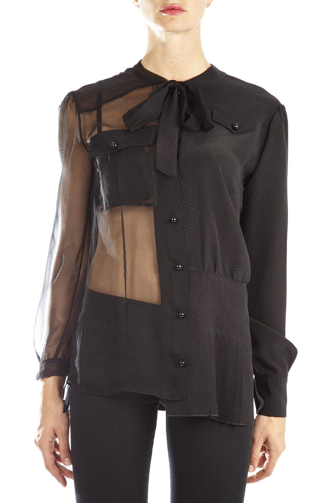 Maison Margiela Bow Detail Silk Shirt