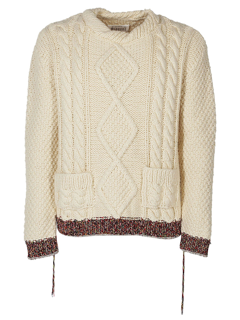 Maison Margiela Cable Knit Contrast Hem Sweater