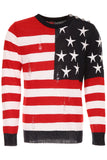 Balmain Distressed USA Flag Knit Sweater