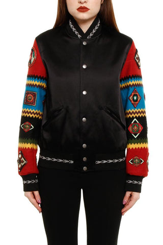 Saint Laurent Contrast Embroidered Sleeve Bomber Jacket