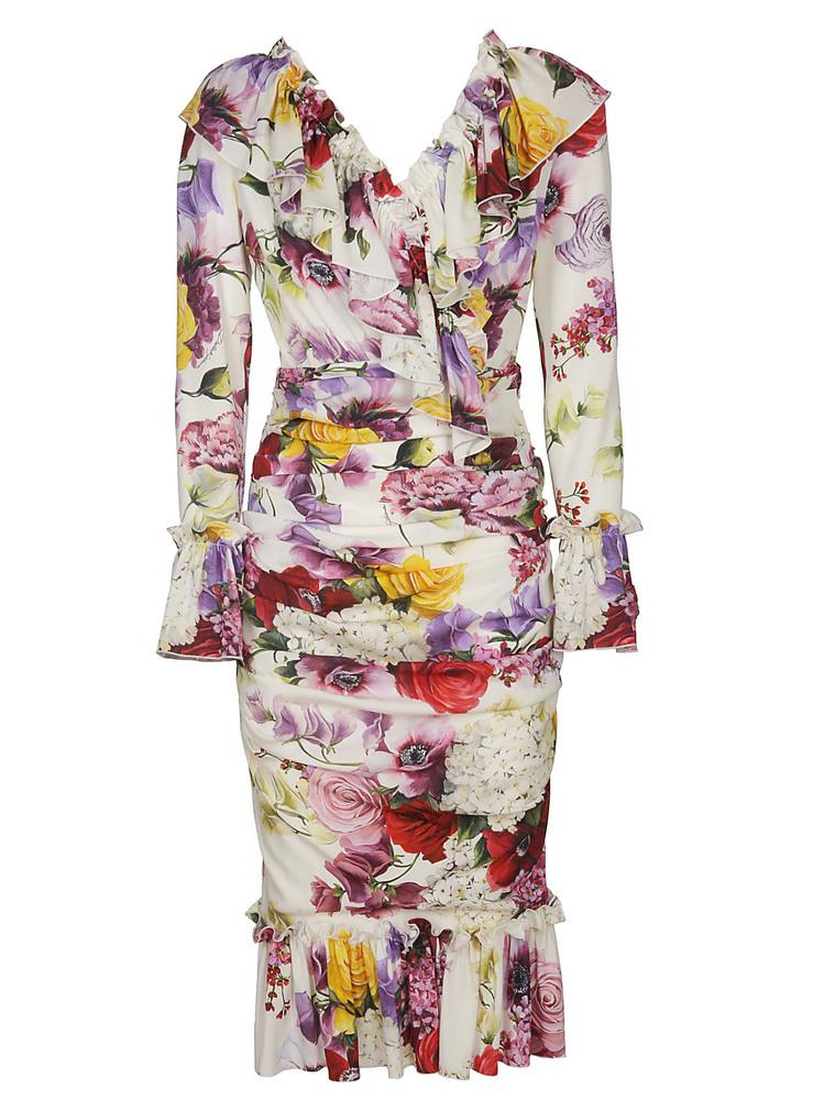 Dolce & Gabbana Floral Printed Frill Trim Dress