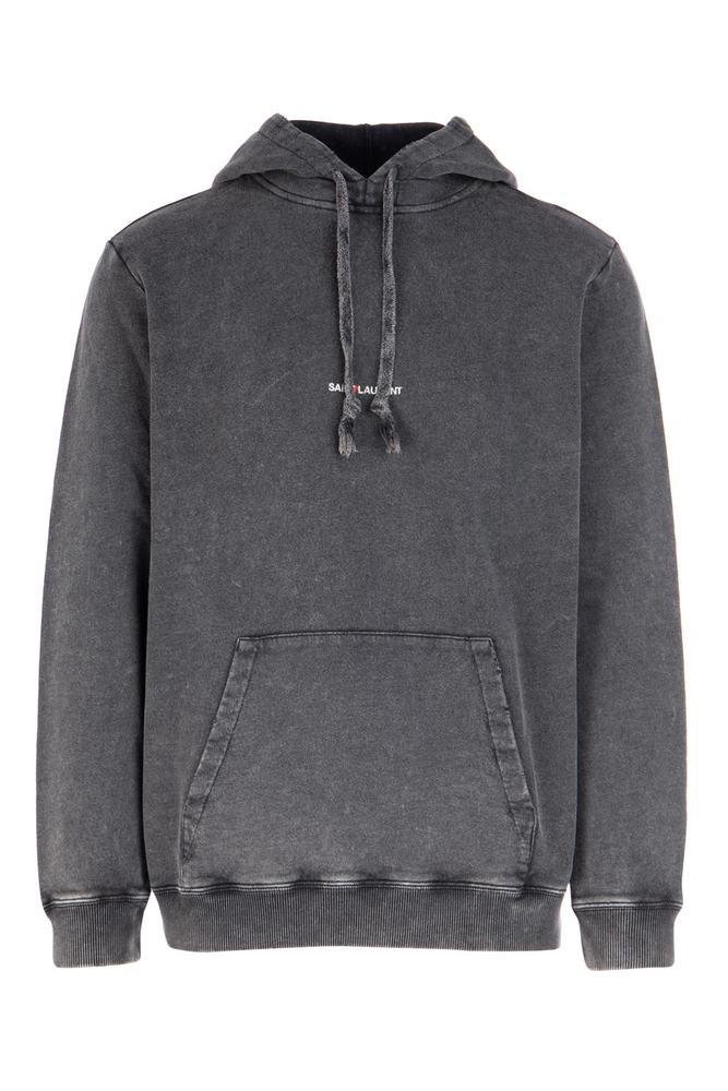 Saint Laurent Washed Logo Hooded Sweater