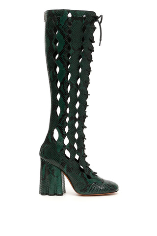 Marni Cut-Out Snake Print Long Boots