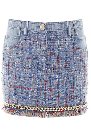 Balmain Fringed Denim Skirt