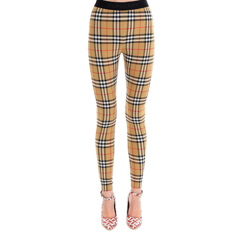 Burberry Logo Detail Checked Leggings
