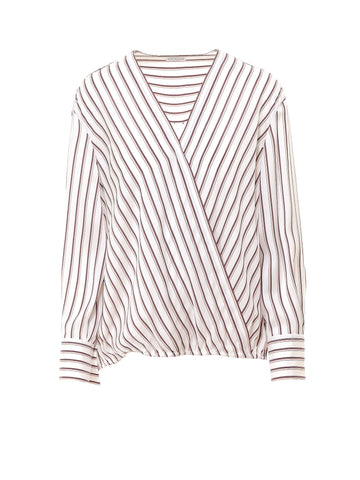 Brunello Cucinelli Striped Long Sleeve Wrap Blouse