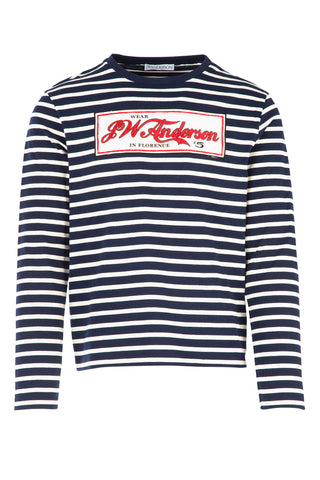JW Anderson Embroidered Striped Long Sleeve T-Shirt
